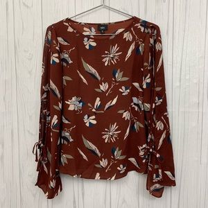 MOSSIMO BROWN FLORAL COLD SHOULDER MEDIUM